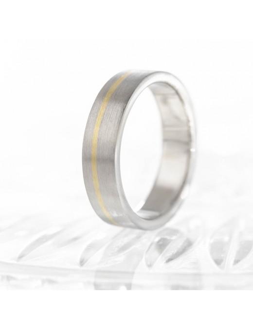 Schlichter Ring aus Palladium mit Gelbgold
