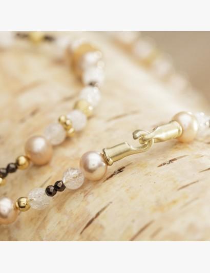 Edelsteinkette in Weiß-Rosa-Gold
