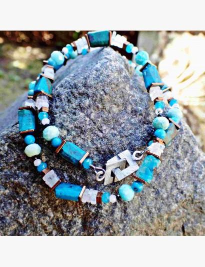 grün-blaue Edelstein-Kette aus Chrysokoll, Amazonit & Mondstein
