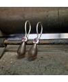 Ohrhänger mit Rhodolith und Rauchquarz