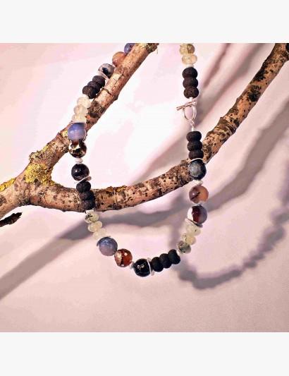 Edelstein-Kette mit Lava-, Prehnit- und Achat-Steinen