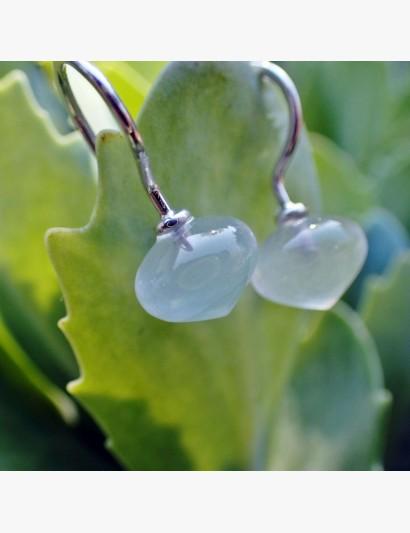 Ohrhänger aus Silber mit Milchquarz-Zwiebel