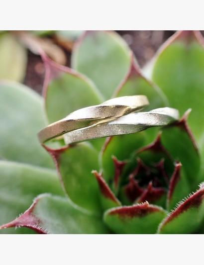 Kombinationsmöglichkeit goldener und silberner Möbiusring im Quadrat