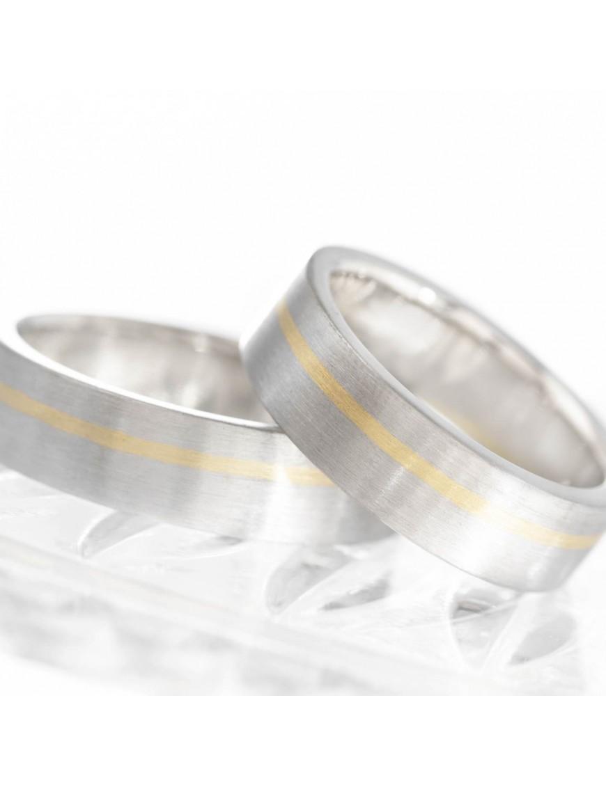 Trau-Ringe aus Palladium mit Gelbgold