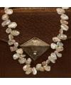 naturfarbene Keshi-Perlenkette