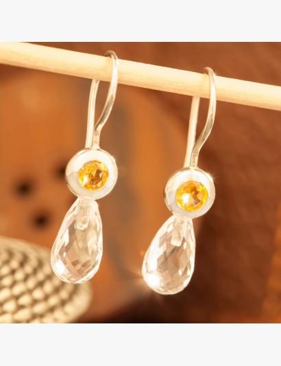 Ohrringe mit Bergkristall und Citrin